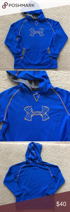 👫Under Armour Hoodie Under Armour Hoodie. Bright blue with orange and grey. Pullover styling. Pockets. Lighter weight. 100% polyester. Size YL. Excellent condition. Under Armour Shirts & Tops Sweatshirts & Hoodies