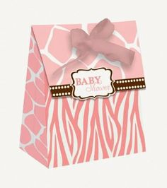 """Pink Safari Favor Bags by Creative Converting. Save 4 Off!. $4.61. Manufactured to the Highest Quality Available.. Design is stylish and innovative. Satisfaction Ensured.. Size: 3"""" x 4"""" x 2"""". Pink Safari Baby Shower Favor Bags feature the phrase """"Baby Shower"""" printed on a decorative pink animal printed design. These elegant mini favor bags include an elegant chocolate brown satin ribbon."""