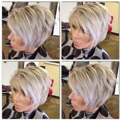 Color and cut by Connie Delamora! Square Face Hairstyles, Great Hairstyles, Bob Hairstyles, Short Layered Haircuts, Short Hair Cuts, Short Hair Styles, Razor Cut Hair, Brown With Blonde Highlights, Grey White Hair