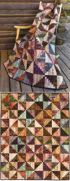 BROWN-BEIGE SPLIT LOG CABIN QUILT KIT