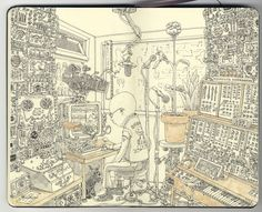 Mattias Adolfsson Inks - Inspired by a documentary about BBC Radiophonic Workshop.