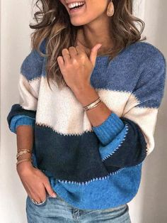 Women Sweater Casual Striped Plus Size Long Sleeve Tops – anniewe Cardigan Long, Loose Sweater, Long Sleeve Sweater, Long Sleeve Tops, Velvet Cardigan, Sweater Cardigan, Leopard Sweater, Sweater Dresses, Green Sweater