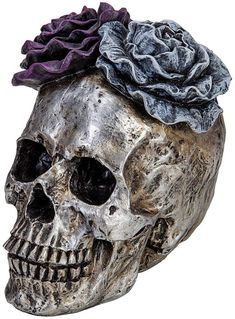 Halloween Skull Statues Home Decor Day of Dead Purple Grey Rose... Grey Roses, Silver Roses, Halloween Skull, Halloween Horror, Creepy Home Decor, Scary Costumes, Skull Decor, Flower Skull, Novelty Items