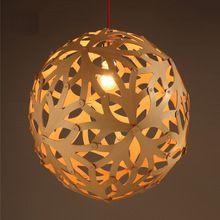 Madera modernos luz pendiente de la bola de la lámpara de madera de Color Tree Hollow lámparas de techo comedor iluminación colgantes(China (Mainland))