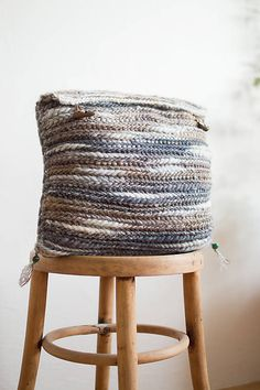 Knitted wool boho pillowcase with wood buttons