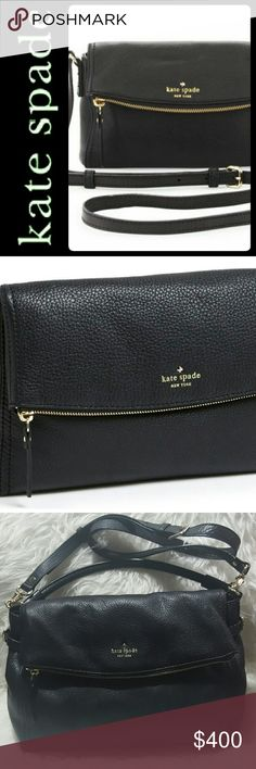 Kate Spade NY Cowhide Leather Crossbody HandBag NEW Kate Spade New York Signature Purse in Stunning Black Pebbled Leather Crossbody! Features A Multifunctional Bag with Its Luxurious Cowhide Leather Material! Front Exterior Fold Over Flap Has Faint Gold Tone Zipper Closure with Concealed Magnetic Closure!   Opens to Fully Lined Interior with Front Slip Pocket, Then Zip and Slip Pockets! Separate Large Compartment Inside Main Zipper Closure! Removable Adjustable Crossbody Strap Converts to…