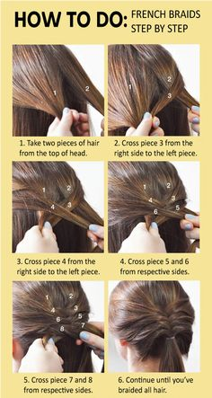 How to do French Braids Step by Step : How To French Braid Hair - Haare, Frisuren - French Braid Hairstyles, Step By Step Hairstyles, Braided Hairstyles Tutorials, Box Braids Hairstyles, Girl Hairstyles, French Braids, French Hair, How To French Braid, Hairstyle Ideas