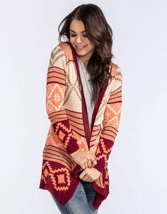 FULL TILT Tribal Pattern Womens Hooded Cardigan