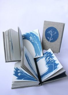 Coptic journal with linen cover and cyanotype prints. Handmade art journal, travel journal.