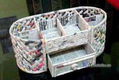 Плетение из газет шкатулки-органайзера. Мастер-класс (2) (607x411, 256Kb)