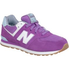 New Balance Women's 574 Summer Sweet Sneaker ($80) ❤ liked on Polyvore featuring shoes, sneakers, purple, summer sneakers, retro shoes, low heel shoes, lace up shoes and checkered sneakers