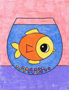 How to Draw a Fish Bowl · Art Projects for Kids Easy Fish Drawing, Fish Drawing For Kids, Nature Drawing For Kids, Drawing Pictures For Kids, Toddler Drawing, Fish Drawings, Painting For Kids, Cute Drawings, Coloring Pictures For Kids