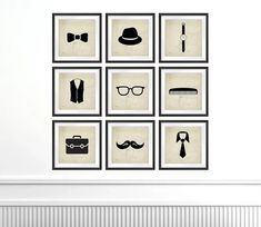 THIS SET IS ON SALE THIS MONTH 20% off This listing is for Nine Photo prints of silhouettes related to mens fashion on a vintage paper background cropped to a Square format and in various sizes please select your size from the drop down menu. These would make a perfect addition for your little boys Vintage Sports Decor, Professional Photo Lab, You Are Cute, Hipster Fashion, Mens Fashion, Boys Room Decor, 9 Square, Paper Background, Little Man