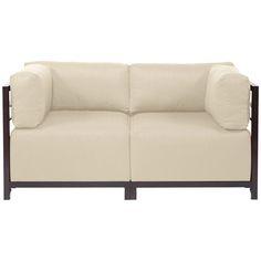 Howard Elliott Sterling Sand Axis Corner Chair - Mahogany Frame K921M-203