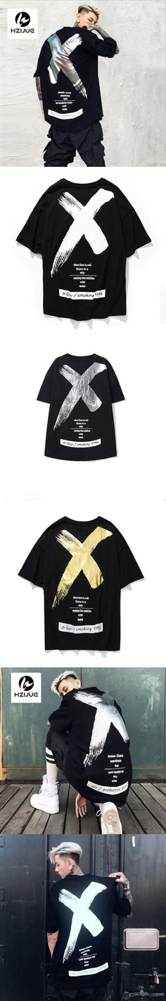 2017 Men Women Hip Hop T Shirt Fashion Summer Gold and silver X paint slogan five-sleeve T-shirt with short gentleman sleeves
