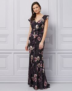 f9cd6940d0d3 Floral Print Chiffon V-Neck Ruffle Gown - Romantic florals detail this  chiffon gown designed