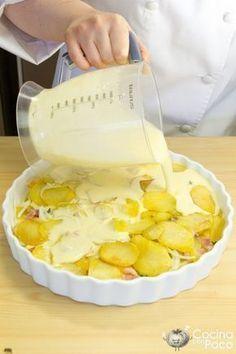 pastel de patata al horno bacon nata paso a paso