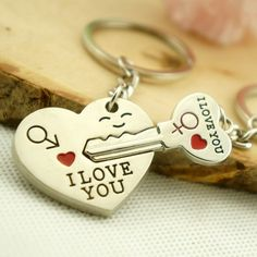Amazon.com : ShineMe® Couple Keychain Love Keychains Heart Key Ring Key Chains for Dear Lover Couple Darling (2pcs) : Office Products