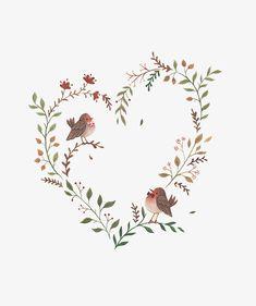 Art And Illustration, Flower Backgrounds, Flower Wallpaper, Wreath Drawing, Art Impressions, Flower Clipart, Flowering Vines, Heart Art, Flower Art
