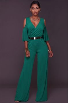 054a4aa9682 Sexy V Neck Ruffle Sleeve Wide Legged Pants Rompers Women Jumpsuit With Belt