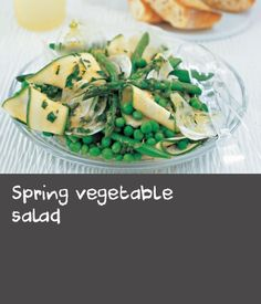 Add some texture to a simple salad with crunchy spring vegetables. Serve with homemade dressing and garlic bread for a healthy light lunch. Chicken Pasta Recipes, Pork Recipes, Lunch Recipes, Meal Recipes, Vegetable Salad Recipes, Veggie Meals, Spring Salad, Easy Salads, Low Calorie Recipes