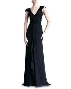 Carolina Herrera Crinkled Chiffon Gown