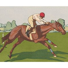 Early 20th-C. Horse Racing Pochoir