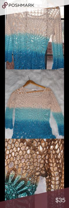 Boston Proper Ombré crochet coverup size small Very sexy, can be worn over swimsuit or tshirt cute, armpit was torn but been repaired. NWOT Boston Proper Swim Coverups