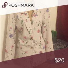 Floral Blazer Two Button Blazer • Side Pockets Vintage Jackets & Coats Blazers