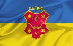 Scarica sfondi bandiera dell'ucraina, stemma poltava, ucraina, poltava