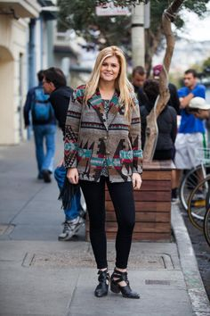 Name: Lacy Reese Gig: Host at Delfina Hood: Sunset What She's Wearing: Jeffrey Campbell boots, Just USA jeans, Forever 21 sweater and coat, H