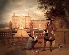 King Charles II, receiving gift of a pineapple from the Royal Gardener, John Rose. Painting, 1675, attributed to Hendrick Danckerts.
