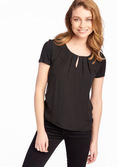 Plain t-shirt, round neck - BLACK - 02005443_1119