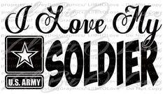 I Love My Soldier Design 2 Vinyl Decal Army Star Sticker United States Army Wife Girlfriend Boyfriend Fiance Mom Parents Grandparents Sticker Military - for car truck vehicle auto mirror scrapbook wal