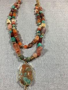 Jade, jasper, Quartz, turquoise statement necklace