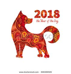 Dog is a symbol of the 2018 Chinese New Year. Design for greeting cards, calendars, banners, posters, invitations. New Year Art, New Year 2018, Nouvel An 2018, New Year Symbols, Hamsa Art, Chinese Crafts, Photographer Business Cards, New Years Poster, Chinese Zodiac