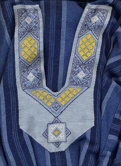 13th C Egypt - applied yoke detail - blackwork, counted satin stitch, drawn work - silk on linen - completed 2007 - Maya Heath