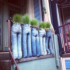 jeans recyclés ~ this website is no longer, but you get the idea. I would sew up the ends, fill with soil and maybe put a rod in each leg in to the ground to make them stand on there own!