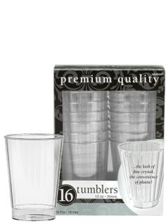 Clear Premium Plastic Tumblers 16ct - Party City