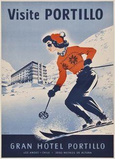 Década de 1960: Aviso publicitario para visitar el Hotel Portillo, Los Andes (Región de Valparaíso)