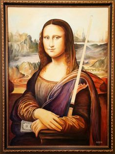 People have various theories on why Mona Lisa smiles. If you ask us, we'd say it's because she just won a game of pool!