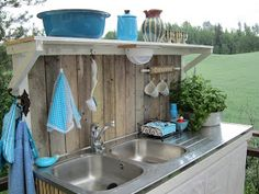 Red Cottage, Cozy Cottage, Outdoor Living Rooms, Rv Living, Free Standing Kitchen Sink, Outside Sink, Garden Sink, Outdoor Sinks, Outdoor Projects