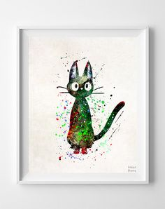 Ghibli Poster, Kiki's Delivery Service, Hayao Miyazaki, Cat Jiji Print, Ghibli Print, Ghibli Art, Watercolor Art, Gift Idea, Christmas Gift
