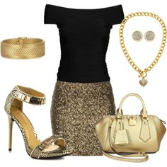"""gold sequin skirt outfit idea"" party outfit/night out"