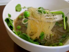 Full Belly Sisters: Glass Noodle Soup with Watercress and Peas - Real Convenience Food
