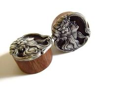 Wooden Ear Plugs  1 inch 254 cm  Antique Silver by PinkCupcakeJC, $25.00