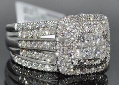 Beautiful 1.56 Ct Wedding Set ~ Bridal Engagement Ring plus 2 Bands in 14 K White Gold