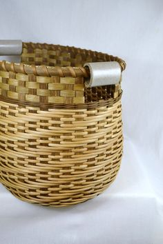 Large Reed or Wicker Storage Basket with Twill Weave and Pottery Handles for Laundry, Toys, Sewing, or Yarn
