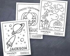 Oh gosh you guys are going to love this.  You can choose from several free printable coloring pages and very quickly and easily customize them with your child's name!  How fun is that? There...