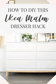 Ikea White Dresser, Ikea Malm Drawers, Ikea Dresser Makeover, Ikea Furniture Hacks, Refurbished Furniture, Diy Home Interior, Ikea Hack, Ikea Malm Hacks, Decoration